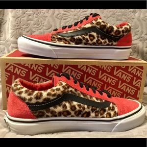 VANS RED SUEDE AND CHEETAH OLD SKOOL SNEAKERS